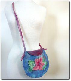 Fashion shoulder bag. Felt hip bag. Handcrafted Rose by sesenarts, $38.00