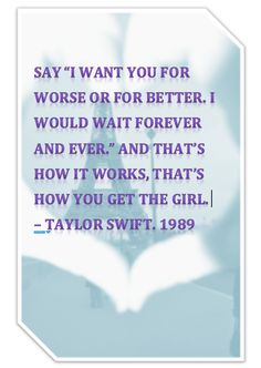 Made this pin because I'm so in love with this song of hers off of Target's Deluxe edition of the album. Taylor Swift. 1989. That's How You Get The Girl. Love love love her new album.
