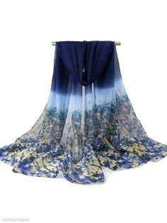 SCIARPA lunga sciarpa tendenza Fiori Panno Scuro Blu