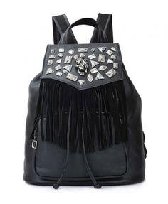 Black Punk Backpack with Tassels
