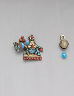 100% TO CHARITY - Vintage Nepal / Tibet Elephant Brooch - pin with inlaid coral and turquoise glass -Nepal Earthquake Relief Fund