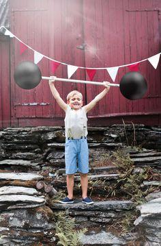 Cute children`s wear. Vintage circus. Kids editorial. Nordic style. MeMini kids fashion. strongest man, boy, weight lifting