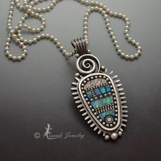 Sterling silver pendant necklace faux iridescent by LizardsJewelry