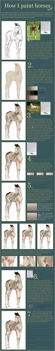 Foal - Tutorial! by feverpaint on DeviantArt. Tutorial for Digitally Hand Painting. This is not enhancing a photo. It is using the computer to create a piece of art.  Her work is amazing, she has definitely mastered this medium.  I was unfamiliar with this medium.