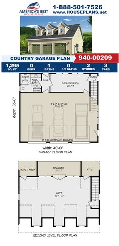 Fall in love with this Country garage design, Plan 940-00209 features 1,295 sq. ft., 1 bathroom, and an exercise room, space for three vehicles, and a loft. Get more details about this design on our website today. Country House Plans, Best House Plans, Garage Design, House Design, Floor Plan Drawing, Stair Detail, Cost To Build, Construction Cost, House Stairs
