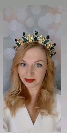 Wedding Headband, Crown Headband, Wedding Hats, Bridal Crown, Pearl Headband, Pageant Crowns, Tiaras And Crowns, Emerald Green Weddings, Diamond Crown
