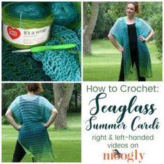 Seaglass Summer Cardi Tutorial - Right & Left-Handed Videos on Moogly Moogly Crochet, Crochet Mittens, Tunisian Crochet, Free Crochet Square, Crochet Square Patterns, Crochet Ideas, Crochet Tutorials, Crochet Projects, Left Handed Crochet