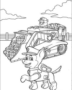 Rubble on his Construction Truck and Chase - Paw Patrol Coloring Pages