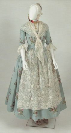 Vintage gown with lace apron