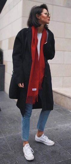 fall fashion trends   black coat + red scarf + top + skinnies + converse #FashionTrendsBlack