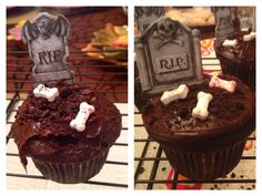 Cemetery Cupcakes! Chocolate cake, fudge icing, grave stone toothpicks, bone candy, and crushed Oreo cookies. They are a huge party hit, and super easy to make!