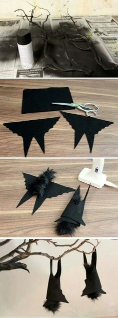 Hanging felt bats on a dry twisted brand make the perfect Halloween centerpiece or decoration. Soirée Halloween, Adornos Halloween, Manualidades Halloween, Halloween Disfraces, Halloween Projects, Holidays Halloween, Halloween Treats, Hallowen Ideas, Monster Party
