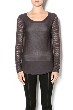 Pullover sweater features finely crotched stitching on sleeves and back. Creates a subtle texture for a feminine sweater.   Steel Grey Sweater by Monoreno. Clothing - Sweaters - Crew & Scoop Neck California