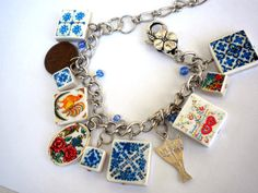 PORTUGUESE GEMS Antique Tile Replica Charm Bracelet with by Atrio,