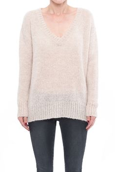 Smoked Rose V-Neck Sweater - Smoked Rose Sweater Sweater Styled with a V- neckline and ribbed ba... | ANINE BING