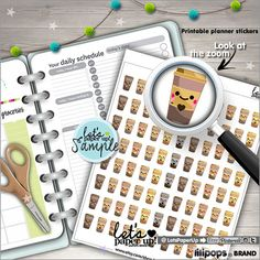 Printable Planner Stickers, Erin Condren, Kawaii Stickers, Coffee Stickers, Life Planner, Instant Download, Planner Accessories, DIY, Cute