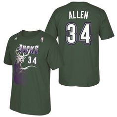 Milwaukee Bucks adidas Soul Name & Number T-Shirt - Ray Allen: Milwaukee Bucks adidas Soul Name & Number T-Shirt… #nbastore #nbastoreeurope