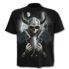Gothic men's t-shirt with graphic print, featuring a skeletal Celtic Warrior in armor, wielding two war-hammers on a burning battlefield. Made by Spiral Direct. Dark Fantasy, Gothic Men, Gothic Horror, Dark Gothic, Dragons, Gothic Shirts, Gothic Clothing, Celtic Warriors, New T Shirt Design