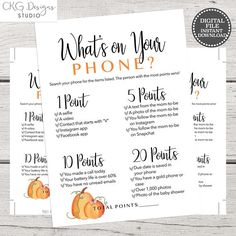Fall Baby Shower Games Printable Whats on your phone Instant