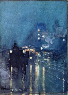 Low Key Painting   Low Key Color   Childe Hassam, Nocturne, Railway Crossing, Chicago, 1892-1893