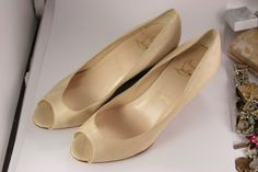 Louboutin Leather Beige Canvas Wood Wedges Made in Italy by VintageForAges on Etsy