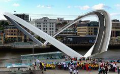GATESHEAD, ENGLAND - JUNE 21: The Millennium Bridge opens as part of the opening ceremony for the European Athletics Team Championships at the Quayside on June 21, 2013 in Gateshead, England. (Photo by Stu Forster/Getty Images) via @AOL_Lifestyle Read more: https://www.aol.com/article/news/2017/02/09/incredible-bridges-from-around-the-world/21710667/?a_dgi=aolshare_pinterest#fullscreen