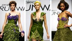 Project Runway flower challenge from season two.  The contestants had to create a design that is appropriate for a garden party constructed out of flowers and plants.