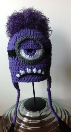 Evil Minion - Despicable Me  - Purple Minion Crochet Hat |  Inspiration only, this isn't a pattern-only an item for sale.