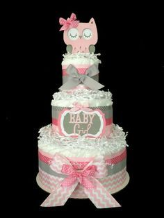 Pink & grey owl diaper cake