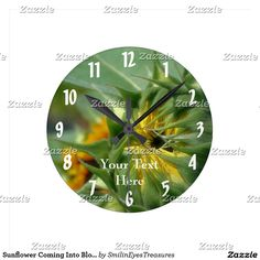 Sunflower Coming Into Bloom Nature Round Clock.  From Smilin' Eyes Treasures at Zazzle.