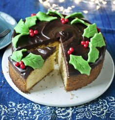 Try this moist, lemony sponge topped with chocolate ganache and marzipan decorations as a last-minute alternative to Christmas cake (Christmas Bake Mary Berry) Baking Recipes, Cake Recipes, Dessert Recipes, Desserts, Baking Ideas, No Bake Chocolate Cake, Chocolate Ganache, Christmas Baking, Christmas Recipes