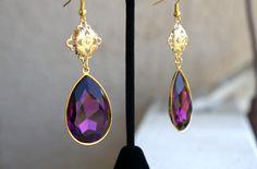 Gorgeous Amethyst Swarovski Crystal Drop Earrings by OYINDOUBARA. Hello Spring! Http://Oyindoubara.bigcartel.com