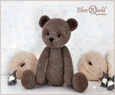 Knitted Teddy Bear, Teddy Bear Toys, Crochet Teddy, Amigurumi Toys, Amigurumi Patterns, Knitting Patterns, Crochet Patterns, Pattern Baby, Knitted Dolls