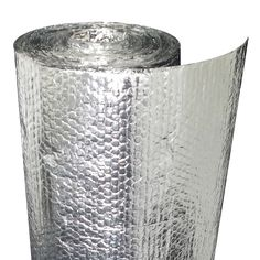Photo of a roll of foil-faced bubble wrap