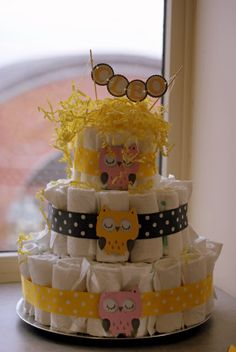 Another way to use our little owls!  On a diaper cake for a baby shower