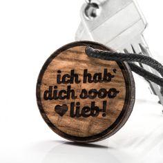 Ich hab dich soo lieb - 3in1_diy_schmuck Holzschmuck aus Naturholz / Anhänger Diy Jewelry Necklace, Handmade, Ring, Wristlets