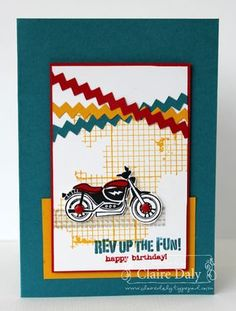 Stampin Up Rev Up the Fun and Off the Grid; boy and masculine cards; Follow the link for a second card boy card using this set. #stampinupaustralia  #masculinecards #chevron