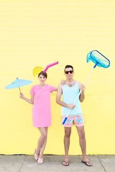 DIY Tropical Drink + Pool Boy Couple's Costume