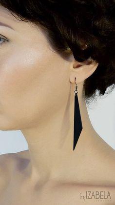 Long Black earrings, Elegant Minimalist earrings, Laser cut Acrylic, Black dangle, Pointy Spike earrings, Black Plexi, Gothic Goth earrings