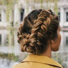 crown braid   updo   bun   long hair style   messy   cute   simple   easy   dark root   blonde