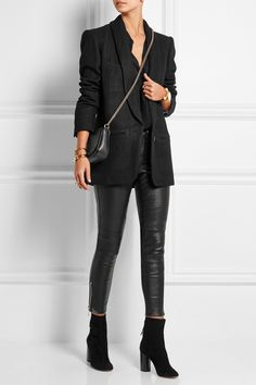 The Row shirt, Gucci leggings, Isable Marant boots, and Gucci bag.