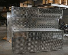 8 Foot Set Of Diamond Plate Garage Cabinets