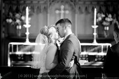A lack and white image of a Bride and Groom at St John