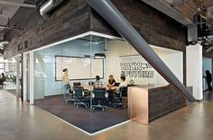 the new dropbox HQ continues the vision of accentuating an energy-infused and collaborative newsroom, referencing the design ethos of the young company's former open office space. Open Space Office, Office Space Design, Office Interior Design, Office Designs, Office Spaces, Glass Office, Small Office, Office Ideas, Corporate Interiors