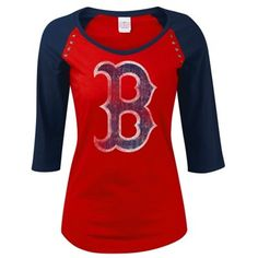 5th & Ocean by New Era Boston Red Sox Women's Red Get Fancy Three-Quarter Sleeve T-Shirt $29.95