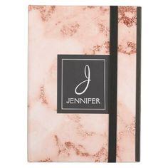 #elegant - #Pink Rose Gold Marble Elegant Monogram iPad Air Case