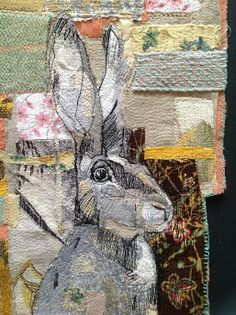 "English textile artist Mrs Bertimus is a self described art tutor, painter and ""maker of things"". Those ""things"" she makes are absolutely gorgeous textile creations, stitche… Freehand Machine Embroidery, Free Motion Embroidery, Machine Embroidery Applique, Embroidery Art, Embroidery Designs, Ribbon Embroidery, Applique Designs, Creative Textiles, Rabbit Art"