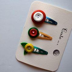 vintage button barrettes