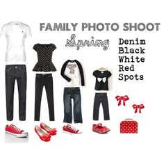 If you are having family photos taken, here is one idea for you to try. Classic Denim, with black and white, with cute spots and a splash of red. Fun, funky and timeless. by bbeingcool-1 on Polyvore