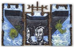 Title: Adam and Eve in the iron shield Date: 1990 Technique: Acrylic on canvas Size of work: 430 x 280 cm Price: USD Brokat, Artist Portfolio, Adam And Eve, Art Festival, Canvas Size, Fine Art, Sculpture, Iron, Painting
